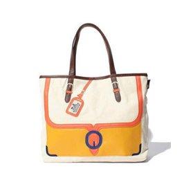 ROOTOTE 象牙白混黃色 手提袋 後背包 手提包 貝殼包 水餃包 側背包