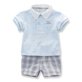 Dave Bella 休閒短袖POLO上衣 短褲 套裝2件組 ~ 淡藍上衣  灰白格紋短褲