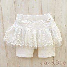 ~捷比 ~DooSun豆山~JD2606~純白色電繡花朵蕾絲裙假兩件 褲裙