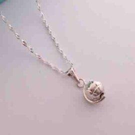~~芙娜~~ 迷你小巧立體轉動地球~水波純銀項鍊~925純銀項鍊~ 銀飾