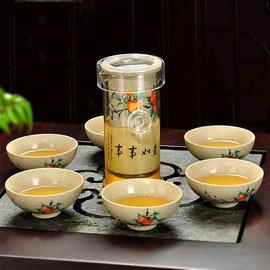 5Cgo ~ 七天交貨~525195319753 粗陶玻璃紅茶衝泡器整套茶壺茶杯茶海陶瓷功
