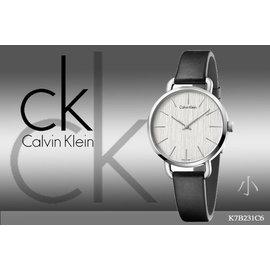 ~時間道~〔Calvin Klein~CK〕高 紋路錶面腕錶  白面黑皮^(小^) ^(K