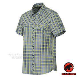 【瑞士 MAMMUT 長毛象】Asko Shirt 男 熱賣款 機能立體排汗短袖襯衫.抗菌吸濕快乾透氣/01532-5832  亮寒青/萊姆汁綠