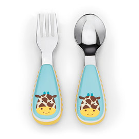 【紫貝殼】『JA21-2』Skip hop zootensils可愛動物園餐具叉及匙 - 長頸鹿【保證原廠公司貨】