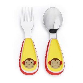【紫貝殼】『JA21-5』Skip hop zootensils可愛動物園餐具叉及匙 - 猴子【保證原廠公司貨】