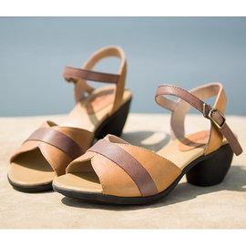 真皮涼鞋牛皮中跟女鞋粗跟舒適通勤拼色魚嘴鞋T16BLX14106 38 碼半價