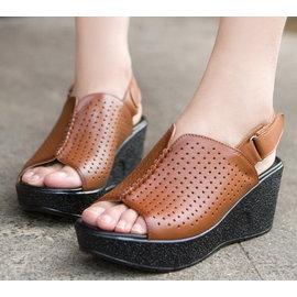 真皮坡跟涼拖魔術貼牛皮女鞋純色鏤空羅馬鞋T16BLX02620三色