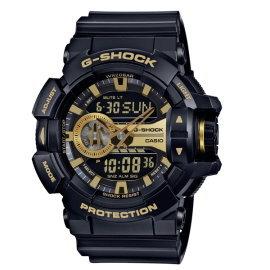 CASIO G~SHOCK 完美街頭雙顯 錶 黑^~金 GA~400GB~1A9DR