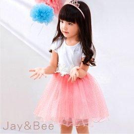~捷比 ~wonBoRn~JW364029~俏麗花朵蕾絲滾邊金粉蓬蓬裙洋裝~三色