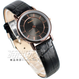 MOMENT舜時 機蕊 簡約時刻 真皮錶帶 黑x玫瑰金 女錶 MO8049黑小