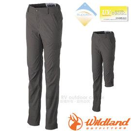 【荒野 WildLand】女新款 彈性SUPPLEX可調節長褲.抗UV休閒機能褲.七分褲.多口袋工作褲/輕薄透氣.吸濕快乾/0A31305 深卡灰