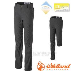 【荒野 WildLand】女新款 彈性SUPPLEX可調節長褲.抗UV休閒機能褲.七分褲.多口袋工作褲/輕薄透氣.吸濕快乾/0A31305 深霧灰
