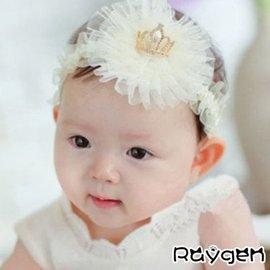 熱銷 韓版 新款 皇冠珍珠 網紗 寶寶髮帶 嬰兒頭飾 幼兒童頭帶【HH婦幼館】