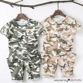 太陽的後裔兒童迷彩短袖T恤+短褲 套裝【HH婦幼館】
