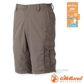 【荒野 WildLand】男新款 透氣抗UV短褲.五分褲.休閒短褲.休閒機能褲.多口袋工作褲/輕薄透氣.吸濕快乾/W1380  白卡其