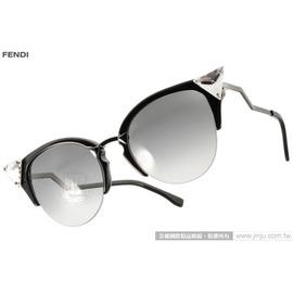 FENDI 太阳眼镜 FS0041S GIKVK (黑-枪银) 前卫时尚造型猫眼款 墨镜 # 金橘眼镜