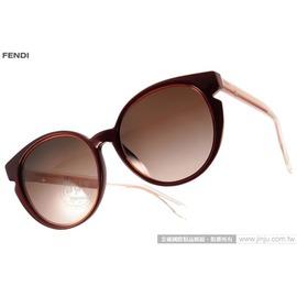 FENDI 太阳眼镜 FS0142FS N7FJ6 (红-透粉) 简约唯美百搭猫眼款 墨镜 # 金橘眼镜