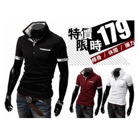 ^(AK1302299^) ~♂Wang Man ~ 格紋POLO衫格子拼色修身短袖1