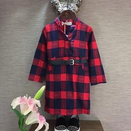 16年春新款童裝女童韓版純棉格子連衣裙公主長袖中小童打底襯衣裙L-009紅格{送腰帶}90cm(90cm(7碼))
