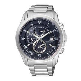 亞洲限定版CITIZEN 紳士典雅光動能電波時計腕錶 藍 AT9080~57L
