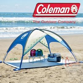探險家戶外用品㊣CM-17140 美國Coleman MX遮陽帳/菱格藍 沙灘帳 抗UV海邊戲水帳 海灘帳遊戲帳
