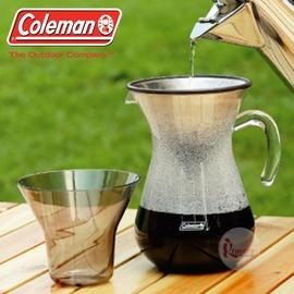 探險家戶外用品㊣CM-26782 美國Coleman 不鏽鋼濾式手沖咖啡壺 安全泰坦壺附量杯收納袋 非摩卡壺濾掛咖啡