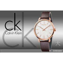 ~時間道~〔Calvin Klein~CK〕高 錶面玫瑰金殼 白面玫瑰金殼咖啡皮^(大^)