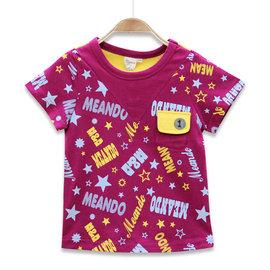 ~捷比 ~MeAnDo米果~JM5015~隨興字母星印撞色短袖上衣