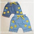 CutiePie 夏裝綁帶微笑星星短棉褲 藍 淺藍