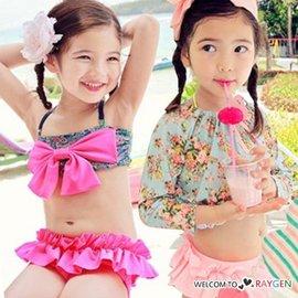 韓版女童碎花防曬長袖分體式三件套泳裝 比基尼【HH婦幼館】