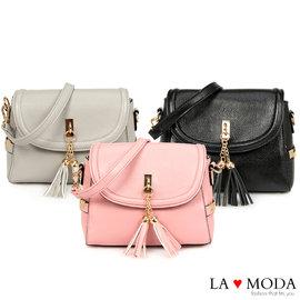 La Moda 不敗大容量流蘇荔枝紋斜背肩背手拿包  共3色