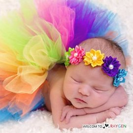 寶寶彩色澎澎紗裙 珍珠花朵髮飾 攝影寫真 滿月 百日【HH婦幼館】