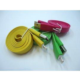 蘋果iphone5/6手機充電線平板ipad4 mini 彩色粗麵條線/扁線/充電線/傳輸線 (3米)  [AIF-00012]