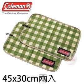 探險家戶外用品㊣CM-26881 美國Coleman 綠格紋午餐墊 45x30 野餐墊 桌墊 桌巾 適用 戶外/露營/野營/野餐