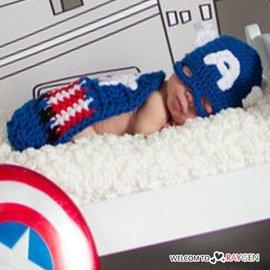 美國隊長 造型 針織帽 披風 套裝 嬰兒 攝影 寫真【HH婦幼館】