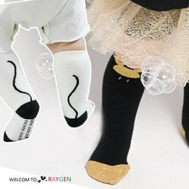 卡通小精靈金色立體耳朵寶寶襪 中筒襪 防滑襪【HH婦幼館】
