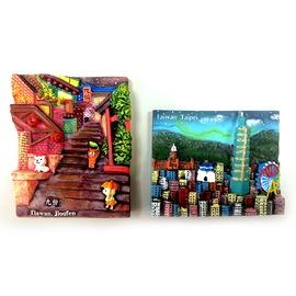 ~收藏天地~ 品~手繪立體冰箱貼~九份  台北景點  2款  ╱ 強力磁鐵 旅遊 觀光 送