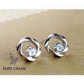 ~Fairy Charm~純銀鏤空圈鋯石耳釘