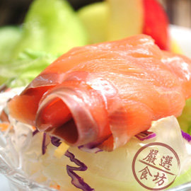 ~OurMart 食坊~夏日輕食嚐鮮~櫸木冷燻智利鮭魚2件組~超完美工法低溫低鹽淡煙燻,讓