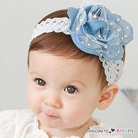 牛仔布蕾絲花寶寶髮帶 頭飾 髮箍【HH婦幼館】