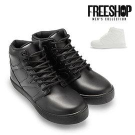 ~QSH0576~日韓風格純色素面皮質中高筒綁帶 休閒鞋 二色 ^(J58^) MIT 製