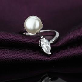 925純銀戒指女 天然珍珠開口戒指女士 高檔微鑲主石紫鉆
