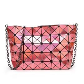 2016明星同款鐳射菱形折疊鏈條包幾何菱格包單肩斜挎百變女士小包3D炫彩4x8