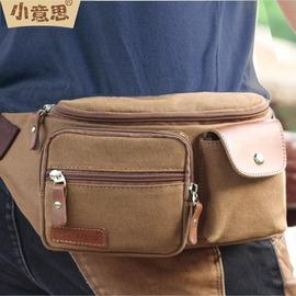 袋鼠專柜正品帆布腰包 胸包 潮戶外 小包包品牌男包咖啡色