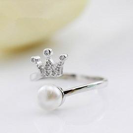 S925銀戒指女文藝氣質小皇冠戒指天然淡水珍珠開口指環甜美食指戒銀色