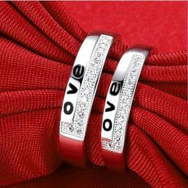 原創925銀戒指女情侶戒指環男士銀對戒子女情侶對戒可刻字送女友男款