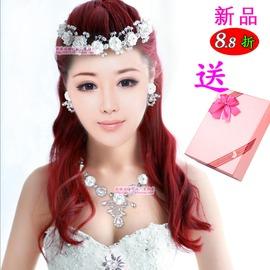 新娘飾品軟陶烤瓷玫瑰花環項鏈三件套裝沙灘拍攝婚紗配飾頭飾頭飾項鏈 耳環