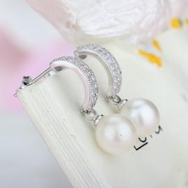 925純銀珍珠耳墜 天然淡水珍珠耳釘 銀飾品鋯石耳釘耳環 銀色