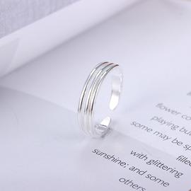 韓國S925純銀戒指開口泰銀三線細紋 復古做舊泰銀食指戒指
