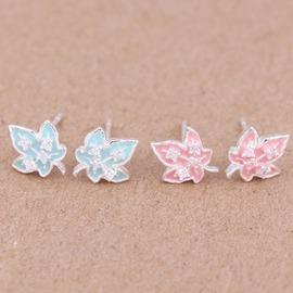 韓國 925純銀飾品 彩色滴膠耳飾樹葉彩色琺瑯耳釘 爆款淺藍色